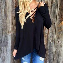 Blusas 2015 outono inverno irregulares camisetas Sexy cruz Halter profundo decote em V solto Fit Casual roupa preto moda feminina Blusas(China (Mainland))