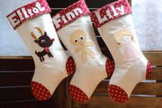 Hand-made Personalised Christmas stockings with applique design.