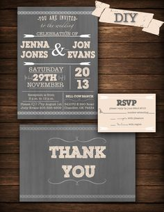 DIY Printable Wedding Invitation by on Etsy