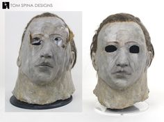 The original mask worn by Don Shanks in Halloween the Revenge of Michael Myers, before and after conservation Halloween 5, Halloween Movies, Halloween Themes, Horror Show, Horror Movies, Movie Props, Original Movie, Behind The Scenes
