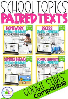 Digital or printable paired text passages on school topics- Homework, Recess Breaks, School Uniforms, and Summer Break. Leveled Passages, Graphic Organizers, and Checklists. Google Slides compatible