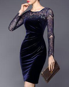 Velvet Cut-out Lace Sheath Midi Dress