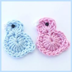 3 Large pink and blue crochet Easter chicks. - Folksy