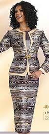 Chancelle 40525 Three Piece Multi Pattern Skirt Suit