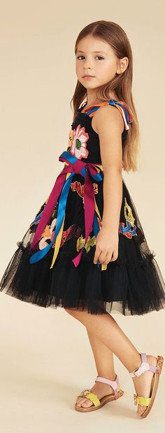 DOLCE & GABBANA Girls Black Mini Me Floral Embroidered Tulle Ribbon Runway Dress for Spring Summer 2018 2. Love this delightfully pretty mini me look inspired by the D&G Women's Collection.. Perfect Special Occasion Summer Party dress for a little princess at the beach or on vacation. Pretty Summer Look for a stylish kid, tween and teen girls. #dolcegabbana #girlsclothing #kidsfashion #fashionkids #girlsdresses #childrensclothing #girlsclothes  #girlsfashion