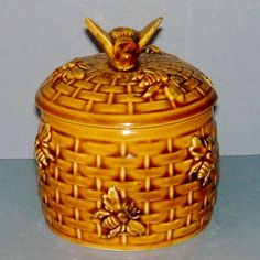 Honey Pot with Bumble Bee Lid and Relief Basket & Bee Pattern/rubylane.com