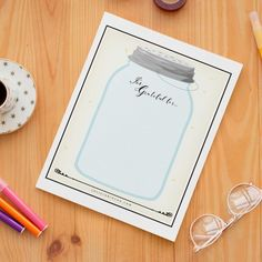 Reflect on all of your many blessings as you use this FREE gratitude jar printable journal!   gratitude journal ideas   journaling inspiration   self care journal