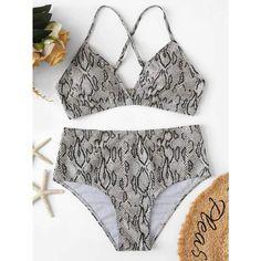 d9c2c66bab573 Random Snakeskin Criss Cross Top With High Waist Bikini