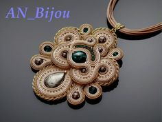 Gold ecru Soutache necklace with emerald crystal.