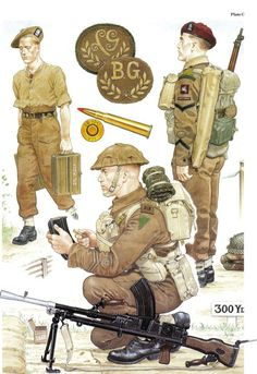 British soldater med Bren-gun