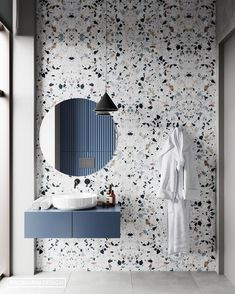 Beautiful Terrazzo tile for this sleek bathroom design. 😍😍 Design from 👌 Dream Bathrooms, Beautiful Bathrooms, Modern Bathroom, Small Bathrooms, Master Bathrooms, Navy Bathroom, Minimal Bathroom, Marble Bathrooms, Boho Bathroom