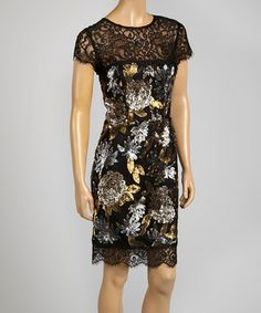 Black  Gold Metallic Floral Sequin Cap-Sleeve Dress - so pretty, but a bit pricey for me...
