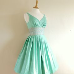 Mint Green Cotton Satin Dress - Made by Dig For Victory