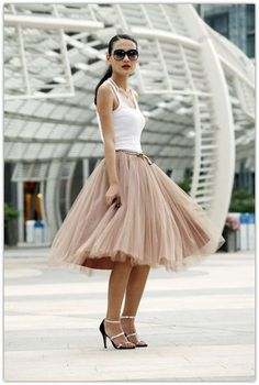 Art Symphony: The Feminine Tulle Skirt; with tank top and heels