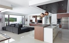 Explore Metricon's range of Sovereign home designs and visit our display homes today. These are wonderfully elegant and dramatic family home designs. Display Homes, New Home Designs, Open Plan Living, Living Room Kitchen, Modern House Design, Dream Homes, Herb, Kitchen Ideas, House Plans