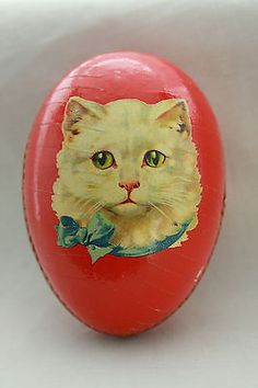Antique German Easter Egg Candy Container Ornament with Cat Face Vintage Candy, Vintage Tins, Vintage Stuff, Easter Cats, Happy Easter, Easter Egg Candy, Paper Candy, Candy Containers, Egg Art