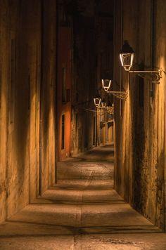 Girona by night,  Catalonia