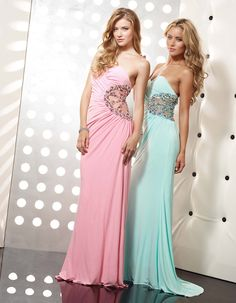 Best friend matching prom dresses.