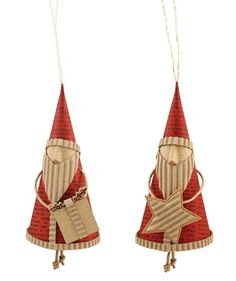 Red Paper Cone Santa Ornament | Swedish Style Christmas Ornaments - The Holiday Barn