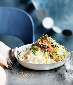 Australian Gourmet Traveller recipe for Japanese-style rice, cabbage and smoked trout salad.