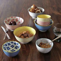 Bowled over. A larger version of our best-selling Modernist Bowls, these serving bowls are the perfect size for ladling noodle soup or passing side dishes around the table. With a slightly curved lip, they feature stamped patterns inside and out.