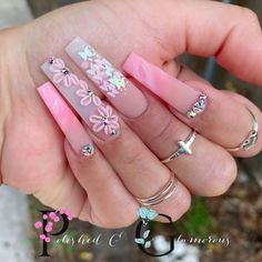 Acrylic Nails Coffin Pink, Long Square Acrylic Nails, Pink Nails, Matte Nails, Drip Nails, Glow Nails, Nails Design With Rhinestones, Swarovski Nails, Acrylic Nail Designs