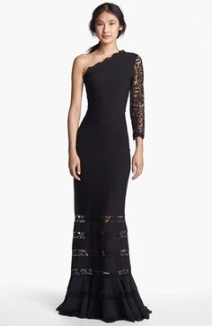Tadashi Shoji One Shoulder Lace Detail Gown available at #Nordstrom