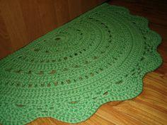 Half Circle, Light Green, Navy, Crochet Rug, Carpet, Hypoallergenic,  Polyester