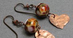 Copper Heart Beaded Earrings - handmade - jewelry - jewellery - artisan - womens fashion - style