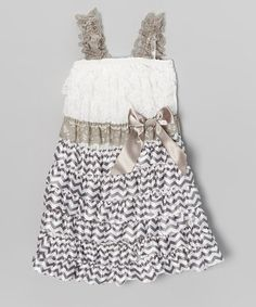 Take a look at this Gray & White Satin Dress - Infant, Toddler & Girls by Zuzu Petals on #zulily today!