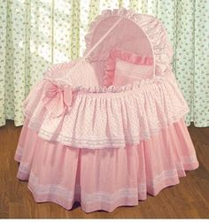 The Jolie & Checker Bassinet by Blauen is made in the perfect shade of sweet hearts and tiny checks in pink. Yards and yards of our cotton bobbin 'Swiss Heart' embroidery and 'Milanese Lace' adorn this elaborate bassinet ensemble of our cotton Baby Doll Bed, Doll Beds, Reborn Baby Dolls, Baby Basinets, Cradles And Bassinets, Kind Photo, Kids Bed Canopy, Small Baby, Baby Needs