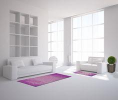 Teppich in verschiedenen Größen erhältlich: Als Teppich: 67x110cm. Als Fußmatte: 50x75cm. Als Läufer: 50x150cm, 67x170cm. Unendliche Kombinationsmöglichkeiten. Rutschfester Untergrund.