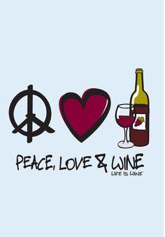 Peace Love & Wine Beverage Coasters by Wine is Life, Set of 12 Wine Meme, Wine Funnies, Traveling Vineyard, Wine Signs, Wine Guide, Wine Wednesday, Wine Art, Wine Quotes, Wine O Clock
