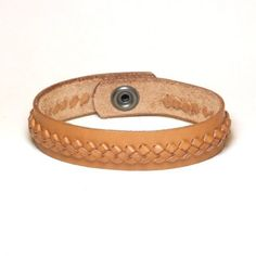 Braided leather bracelet with raised braid