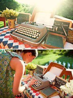 "I heart typewriters and this is such a cute ""guest book"" idea!"