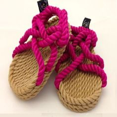 Do You Worry About Your Kids Running Around In Their Bare Feet. These Sandals Are A Must Try! Very Safe And Durable!    Kids Fuschia And Tan Rope