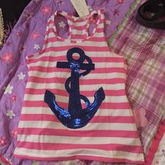 pink striped anchor shirt nwt!!! gorgeous shirt!!!! beautiful blue anchor (sequins). pink and white stripes. brand new with tags :) fits size large. stretchy. can fit medium. no brand Tops Tank Tops