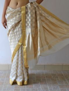 Ecru Malligai Silk & Zari Saree By Raw Mango Pinned by Sujayita