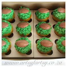 Rugby Cupcakes #rugbycupcakes Cowboy Cupcakes, Rugby Cake, Sport Cakes, Cake Decorating Techniques, Cupcake Cakes, Desserts, Birthday, Sports, Cakes