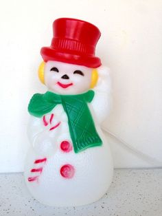 Christmas Snowman Blowmold Light Plastic Outdoor Vtg Lawn Up Yard Decoration