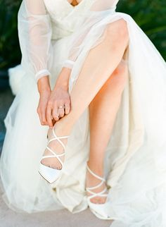 louis vuitton strappy white wedding heels Ashley Rae Photography