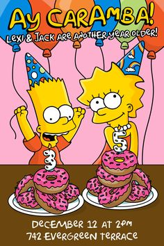 Simpsons themed birthday invitation for combined party.