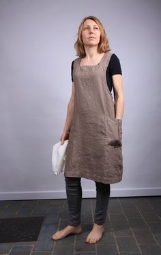 Linen apron / linen apron dress / linen work dress / by LinenCloud