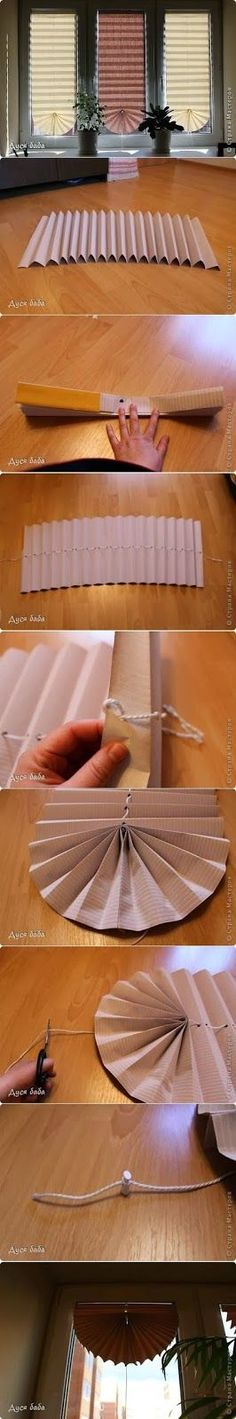 Make a Fan Curtain by papers These fan curtains are very practical <u>вязание</u> and useful. You just need a piece of cardboard which you should...