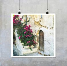 Greek Travel Photography: Old brown wooden door in white wall   Etsy