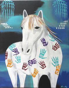 Painted Horse White Equestrian Original by ConsciousArtStudios, $50.00