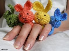 If these were for sale I would buy one. Any friends that crochet....i would LOVE one of these. crochet rabbit rings