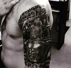 50 Gladiator Tattoo Ideas For Men - Amphitheaters And Armor Tattoos For Guys, Cool Tattoos, Gladiator Tattoo, Warrior Tattoos, Mens Sleeve, Mens Fashion, Sleeve Tattoos, Inspiration, Tattoo Ideas