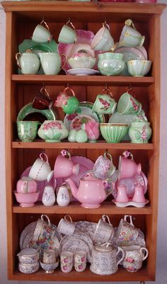 A little bit of pink too!````````most of this delightful cupboard {if not all} is beautiful Carlton Ware.