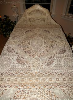 This rare, antique Victorian handmade Normandy lace tablecloth or coverlet is exquisitely romantic! Available at http://www.chantillydreams.com/Stunning-Antique-Handmade-Victorian-Normandy-Lace-CoverletTablecloth-Circa-19th-Century_p_1197.html